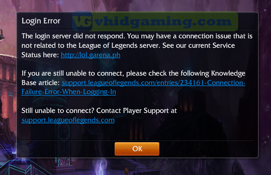 League of Legends Login Error