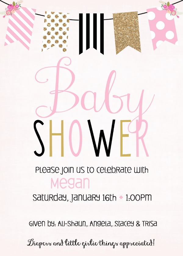 Pink Black and Gold baby girl shower - with a recap of food, decor and more