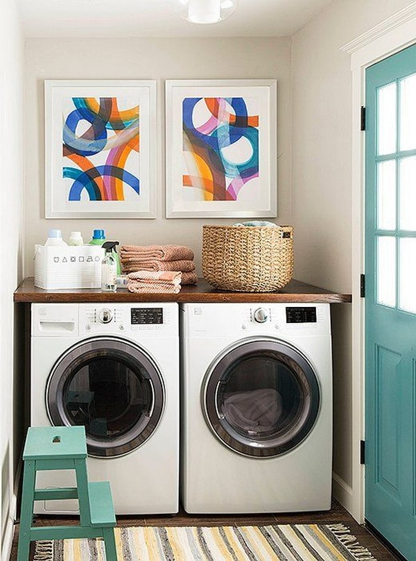 DIY Small Laundry Room Organization Ideas With Top Loading Washer 5