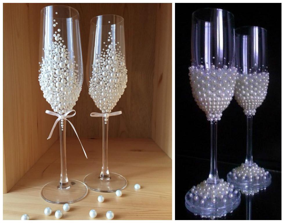 18 ideas para decorar copas para bodas y fiesta de quince - Como decorar copas para boda ...