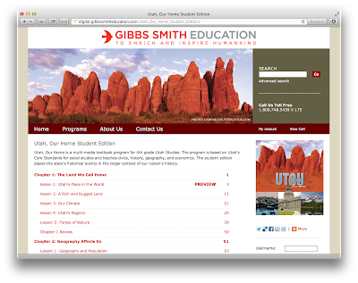 Gibbs Smith Education site on Tizra