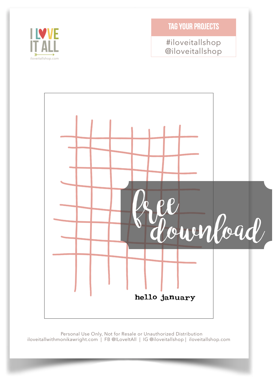 #hello #hello january #january #free download #free printable #journaling card #project life card #pocket scrapbooking #pocket pages
