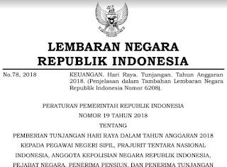 Download Peraturan Pemerintah No. 19 Tahun 2018 Tentang THR PNS