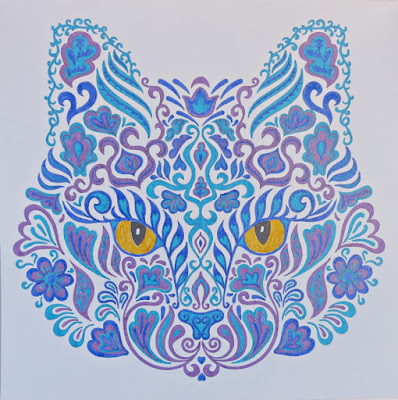 Adult coloring cat illustration
