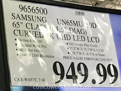 Deal for the Samsung UN65MU650D 65inch Curved tv at Costco