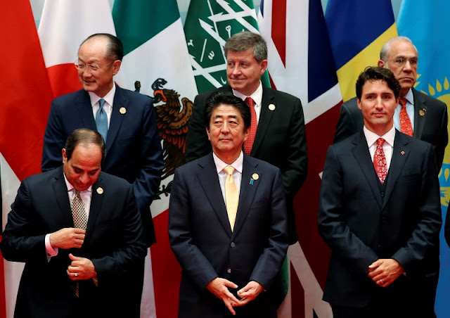 Image Attribute: Egypt's President Abdel Fattah al-Sisi, Japan's Prime Minister Shinzo Abe and Canada's Prime Minister Justin Trudeau attend the G20 Summit in Hangzhou, Zhejiang province, China September 4, 2016. REUTERS/Damir Sagolj