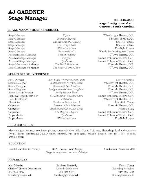 AJ Gardner, Theatre Technician Stage Manager Resume