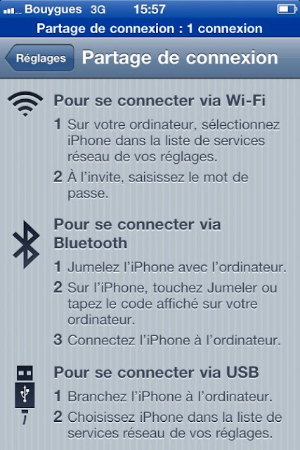 Partage de connexion iPhone