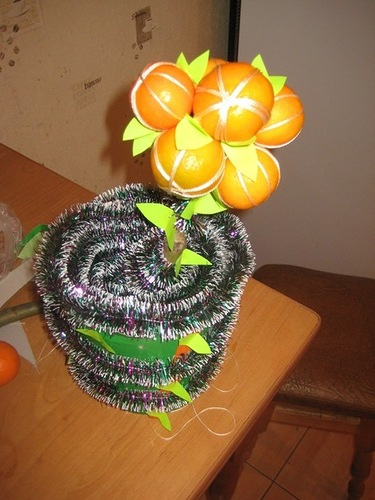 Мастерим новогоднее деревце из мандаринов: идеи и мастер-классы, как сделать дерево из мандаринов своими руками, мандарины на новый год мастер-класс дерево счастья, http://prazdnichnymir.ru/