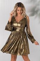 Rochie Kala auriu metalizat cu decolteu