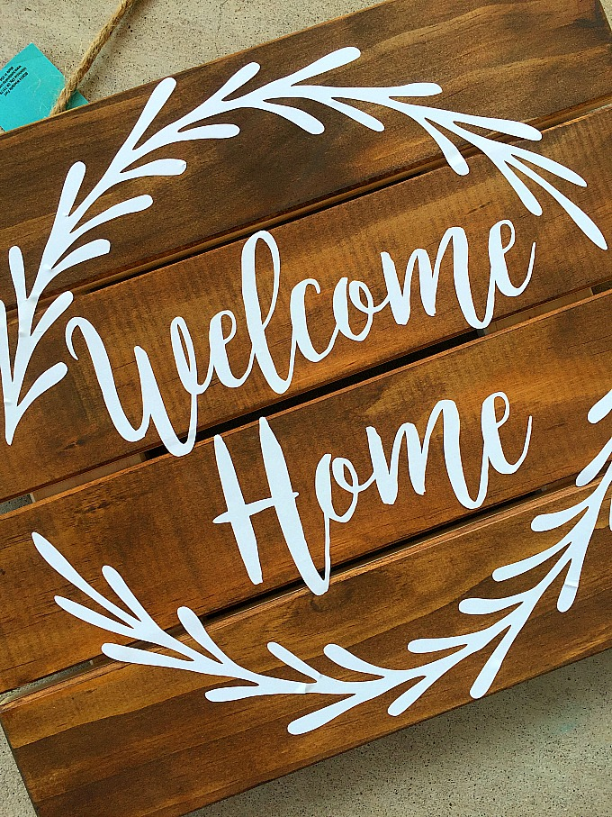 Vinyl Welcome Home Pallet Sign Free Silhouette Cut File
