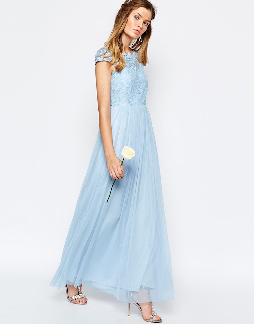 vila blue bridesmaid dress, pale blue lace long dress,