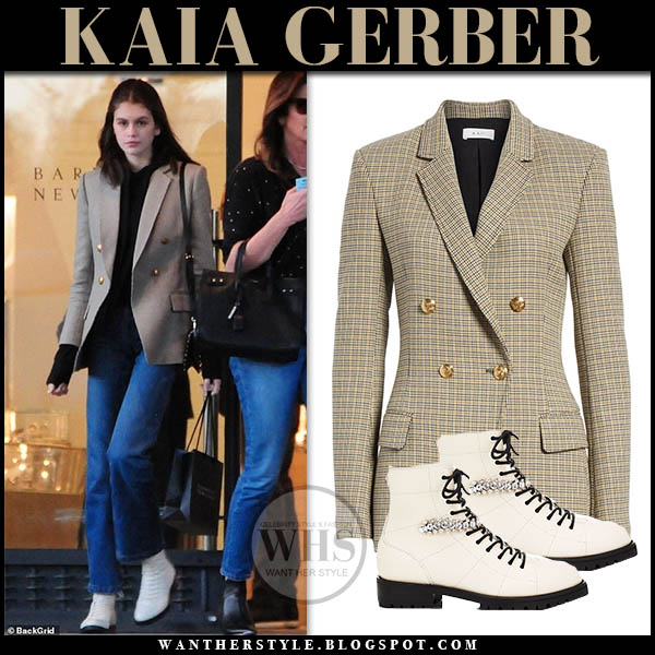 Kaia Gerber in beige check gold button a.l.c. sedgwick blazer and cream white jimmy choo cruz boots model off duty style february 5