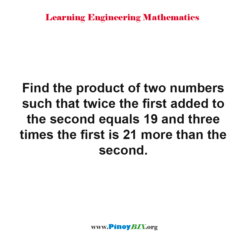 Find the product of two numbers
