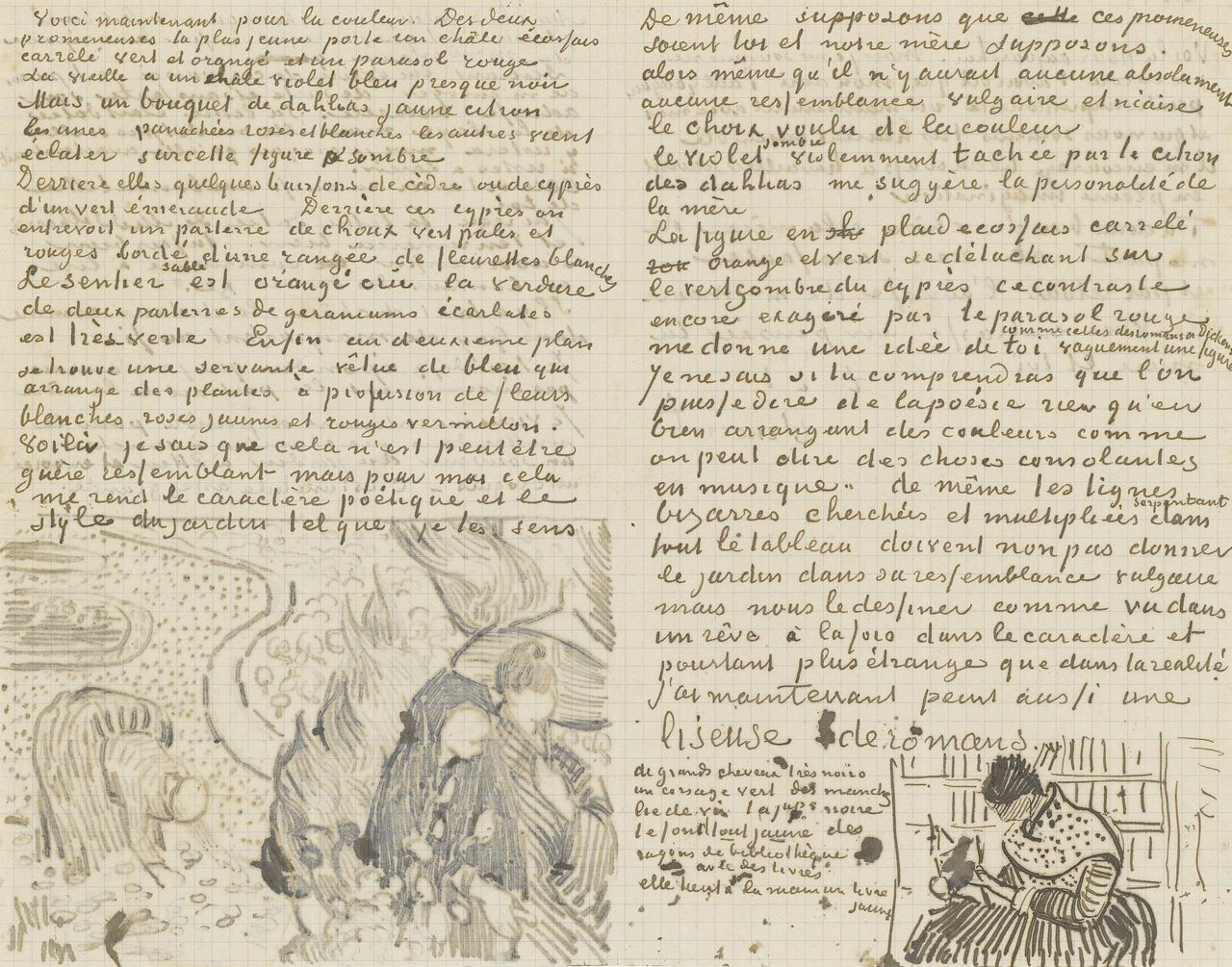 letter from vincent van gogh to willemien van gogh with sketches of reminiscence of garden at etten and woman reading a novel 1888 source vangoghmuseum