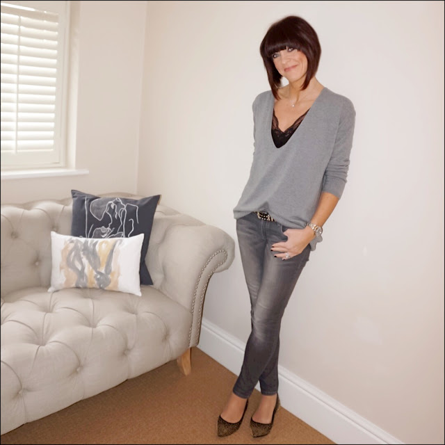 My Midlife Fashion, massimo dutti skinny grey jeans, hope fashion the deep vee slouch pop over jumper, zara lace trimmed camisole, boden studded flat pointed shoe