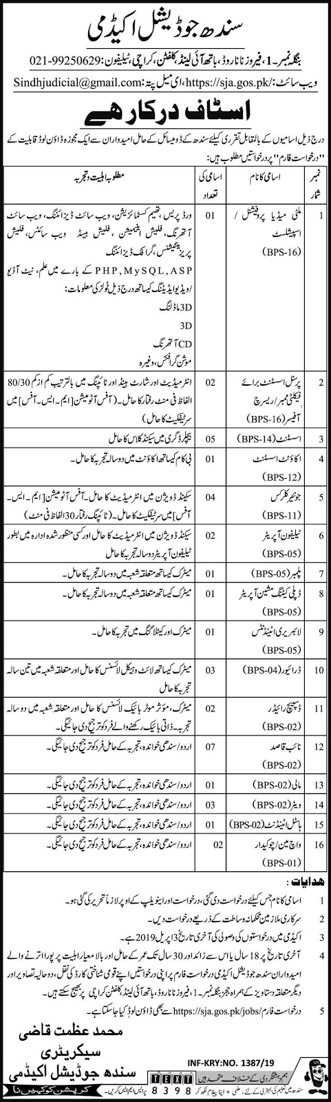 Judicial Academy Jobs 2019 For 37+ Posts (Multiple Categories)