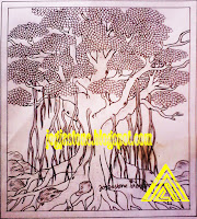 sketsa gambar relief Pohon besar untuk batu alam paras jogja/ batu paras putih