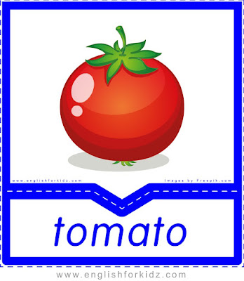 Tomato - English flashcards for the fruits, vegetables and berries topic