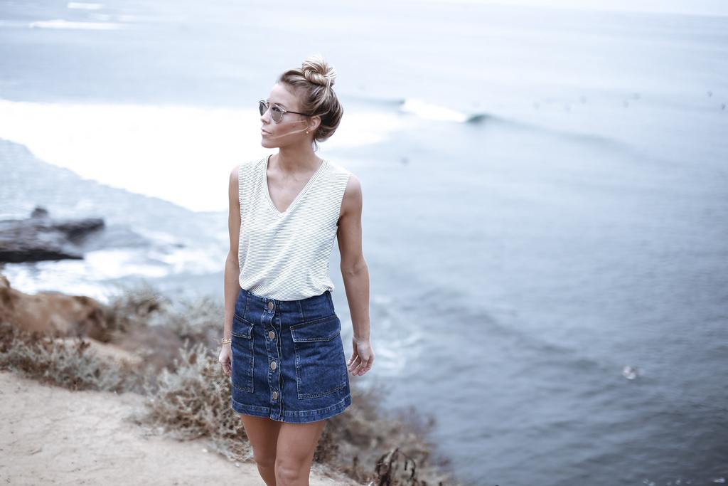 Happily Grey - Denim A Line Button Skirt