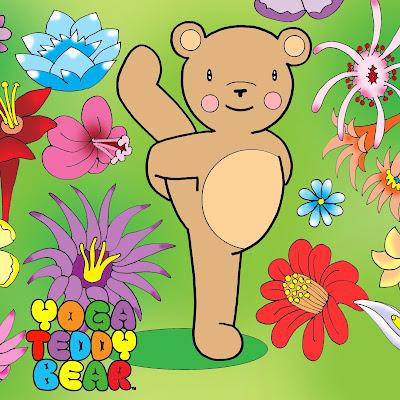 yoga, yogateddybear, yoga teddy bear, bird of paradise, Svarga Dvidasana, yoga education, yoga fun, fall down, flowers