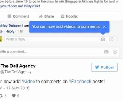 الفيسبوك تختبر تضمين مقاطع الفيديو في التعليقات