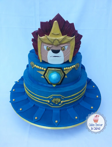 Lego Chima Laval Cake, decorated in Blue Colored Ganache by Cake decor in Cairns Recipe