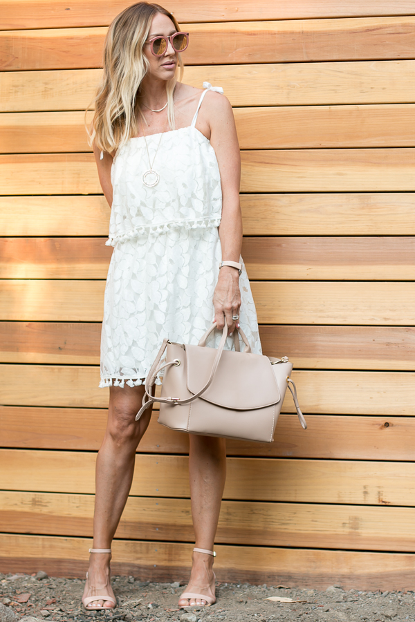 white tassel lace dress