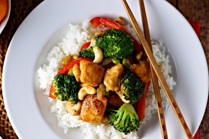 Spicy Honey Cashew Chicken with Sticky Rice for an Easy Chinese New Year Meal featuring Tai Pei® Appetizers