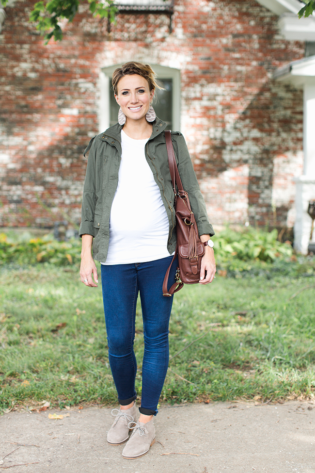 1abfc85497d08 Military Jacket and Desert Boots Maternity Style | ONE little MOMMA ...