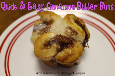 Quick & Easy Cinnamon Butter Buns | 4 ingredients for a quick & delicious breakfast | www.fantasticalsharing.com