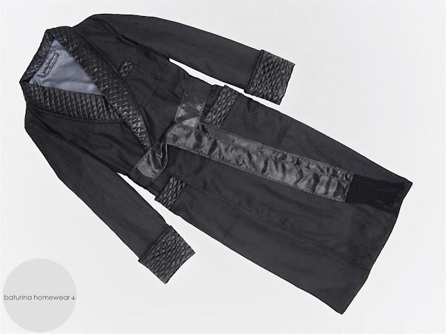 mens long dressing gown black silk cotton quilted full length elegant robe luxury english gentleman style