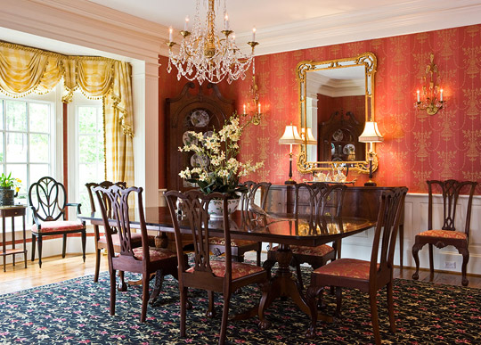 A colorful and traditional southern home the glam pad for Traditional red dining room
