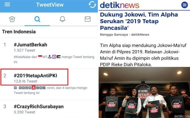 Pendukung Jokowi Luncurkan #2019TetapPancasila, Warganet Balas dengan #2019TetapAntiPKI