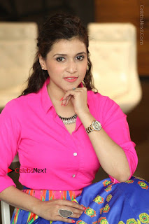 Actress Mannar Chopra in Pink Top and Blue Skirt at Rogue movie Interview  0194.JPG