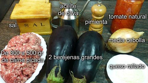 Berenjenas rellenas. Ingredientes