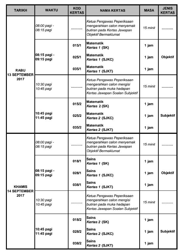 Jadual Waktu Peperiksaan UPSR 2017