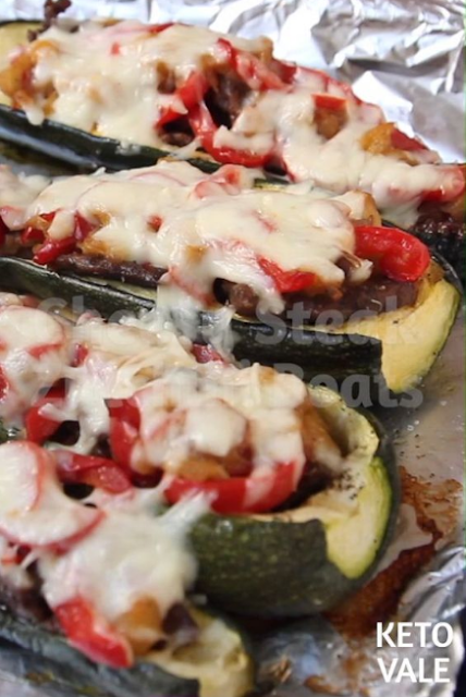 Cheesy Steak Zucchini Boats