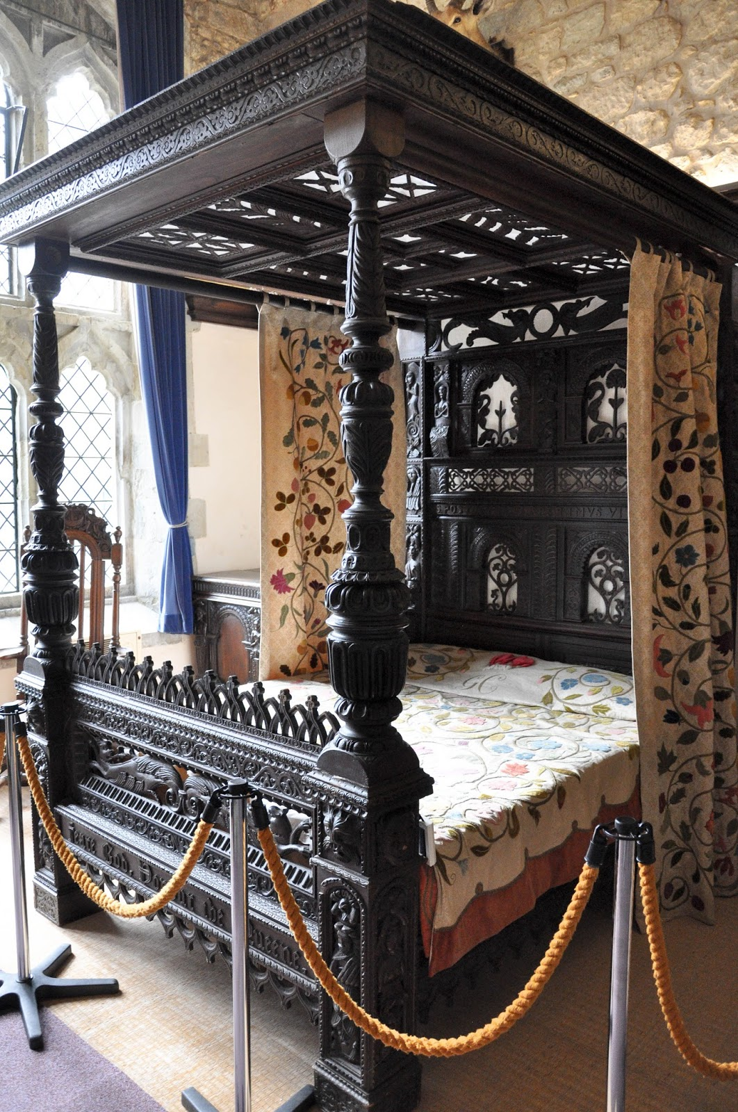 The four-poster bed, Carisbrook Castle, Isle of Wight, UK