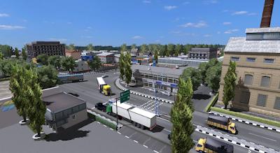 Screenshot pemandanga perkotaan map Javana Island v7.2 ETS2
