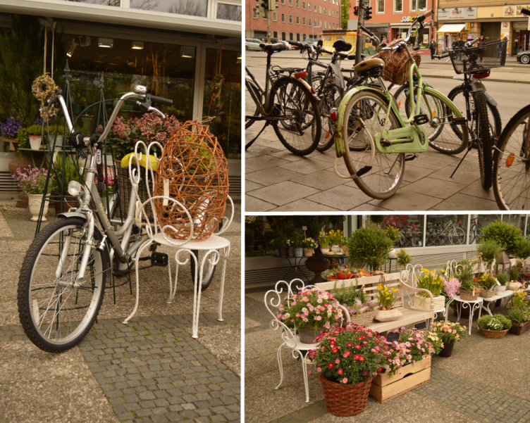 Munich, München, bike, bicycle, easter decoration, florists