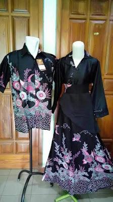 Model Baju Batik Sarimbit Lebaran Terbaru Hitam