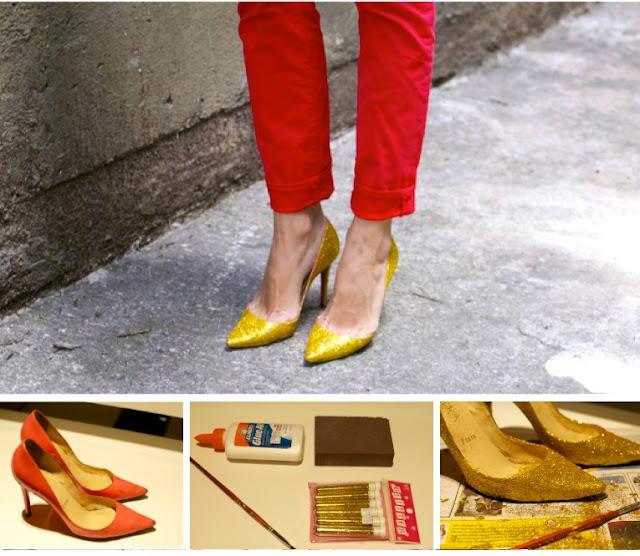 eski ayakkabıları süsleme