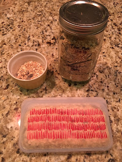 Photo of a pint canning jar full of instant oatmeal, a yellow custard cup with instant oats, and a clear silicon Stasher bag with red hash marks on it full of instant oatmeal. https://trimazing.com/
