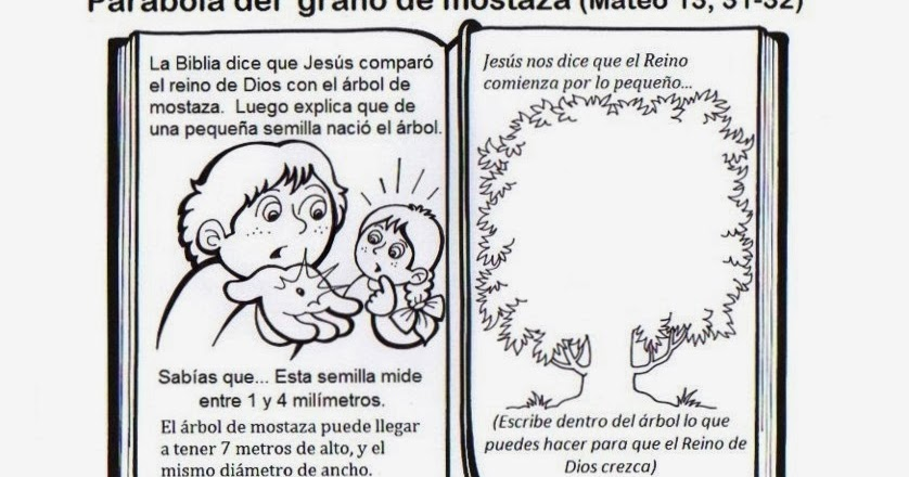 PARA COLOREAR: Parábola del Grano de mostaza