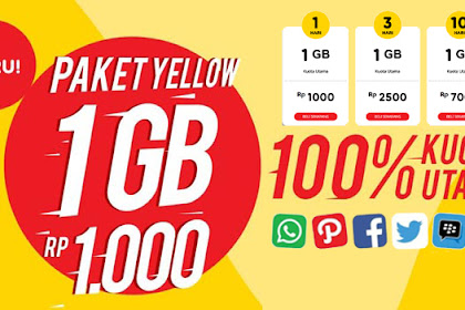 Cara Daftar Paket Yellow Indosat 1GB Hanya 1000