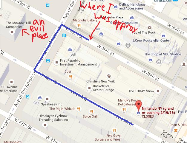 Nintendo NY long line map around the block 49th Street