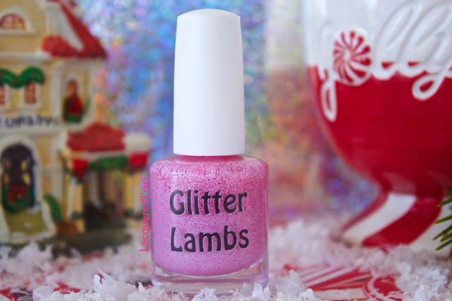 Custom handmade indie nail lacquer for the Christmas holiday season for your nails. Glitter Lambs Christmas glitter topper nail polishes. Pink tiny glitter topper polishes.