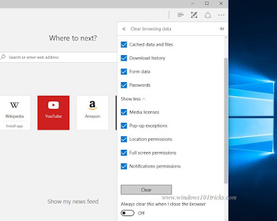 clear clear browsing data on microsoft Edge browser