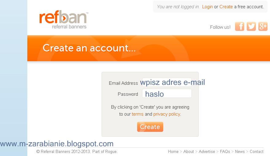 Rejestracja w programie RefBan.com